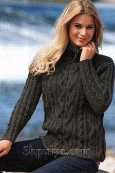 www.SHPULYA.com - Серый пуловер из мериносовой шерсти, вязаный спицами