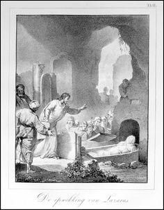 Opwekking van Lazarus.   Grafic : Litho from : Handboek der Bijbelsche Geschiedenis Size Picture : 16 x 21 cm Year : 1830 Fecit : I.W.Vos Uitgev. : S.de Visser & J.van Baalen Rotterdam