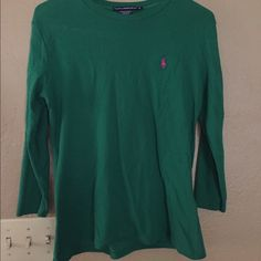 Polo Ralph Lauren Shirt Emerald green, 3/4 length sleeves, barely worn, pink logo. Ralph Lauren Tops Tees - Long Sleeve
