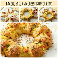 Egg and Cheese Brunch Ring Bacon, Egg, and Cheese Brunch Ring. Can also substitute bacon for ham or Canadian bacon.Bacon, Egg, and Cheese Brunch Ring. Can also substitute bacon for ham or Canadian bacon. Breakfast Desayunos, Breakfast Dishes, Breakfast Recipes, Breakfast Ideas, Breakfast Casserole, Easy Brunch Recipes, Christmas Brunch, Christmas Breakfast, Gastronomia