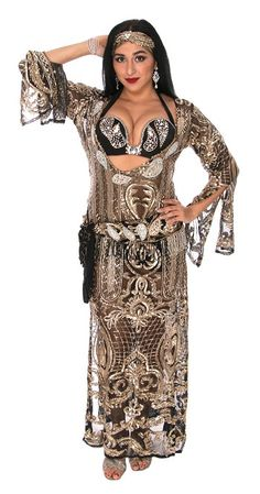 Beige and Golden LOT 2 Egyptian belly dance Dresses lycra free size Galabeya