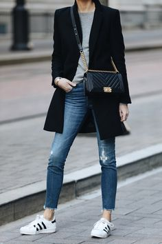 Woman Wearing Zara Black Wool Coat Grey Sweater Madewell Denim Jeans adidas superstar sneakers Chanel Black Boy Bag Fashion Jackson Dallas Blogger Fashion Blogger Street Style