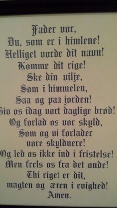 The Lord's Prayer in Norwegian.