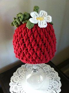Crochet Pattern for Berrylicious Strawberry Beanie Hat - 6 sizes, baby to adult - Welcome to sell finished items. $4.95, via Etsy.