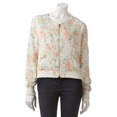 Candie's Floral Collarless Bomber Jacket