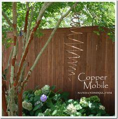 diy spinning copper mobile, diy home crafts, outdoor living, DIY Copper mobile Garden Crafts, Garden Projects, Garden Tools, Garden Ideas, Diy Projects, Metal Projects, Garden Pests, Copper Art, Copper Tubing