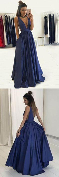 Deep V-Neck Floor-Length Royal Blue Taffeta Prom Dress with Pockets PG465