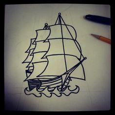 Sharpie ship tattoo sketch by - Ranz