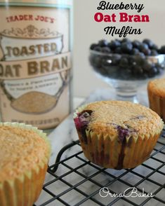 These moist and tasty Blueberry Oat Bran Muffins are sooo quick and easy and YUM! Only 3 WW PP each. www.ornabakes.com