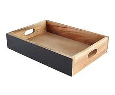 Caja grande de madera de acacia con pizarra