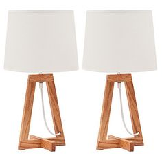 Set Of 2 Table Lamps With Wooden Base - Neutral – Target Australia