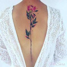 Watercolor Flower Back Tattoo Idea for Women