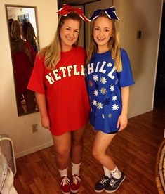 Best friend Halloween costume!Netflix and Chill was a HUGE hit All craft supplies and Tshirts found at Hobby Lobby!