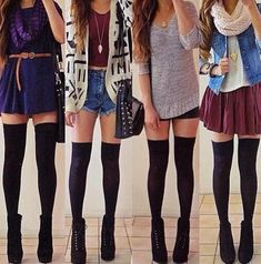 Outfits with over the knee socks // hipster outfits hipster fashion Tumblr Outfits, Hipster Outfits, Hipster Fashion, Girly Outfits, Mode Outfits, Look Fashion, Teen Fashion, Autumn Fashion, Fashion Outfits