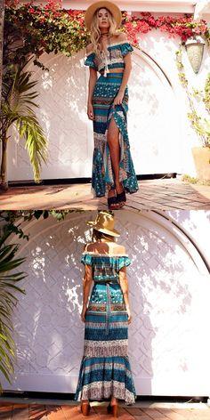 fc63bb08f3 Blue Two Piece Off the Shoulder Tribal Print Boho Maxi Dress