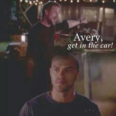 Grey's anatomy...Love how Mark played out his care for Avery! Hilarious!