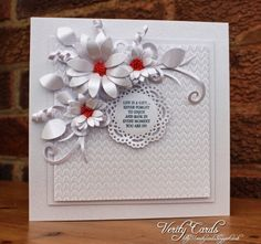 Card made using Crafter's Companion knit one Pearl one embossing folder, Die'sire sunflower, leaf 2, Flourish and stamen dies.