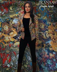 Kalamkari coat#pranaah                                                                                                                                                                                 More Kalamkari Tops, Kalamkari Dresses, Kalamkari Saree, Jacket Style Kurti, Kurti With Jacket, Indian Western Dress, Indian Wear, Kurta Designs, Blouse Designs