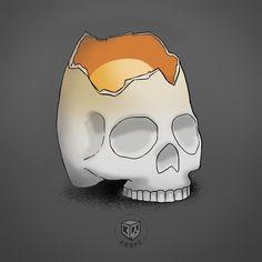 Krane-deuf (by #krane) Crane, Skull, Sugar, Art, Art Background, Kunst, Performing Arts, Skulls, Sugar Skull