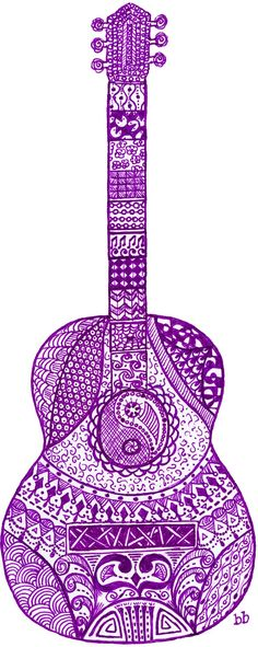 Guitar Art Acoustic Tattoo Doodle Zentangle S