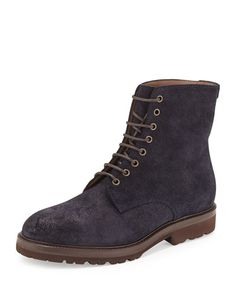 N3CDG Brunello Cucinelli Waxed Leather Lace-Up Hiker Boot, Navy