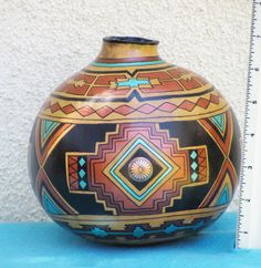 Southwestern Hand Painted Gourd Pot 681 Geometric Design