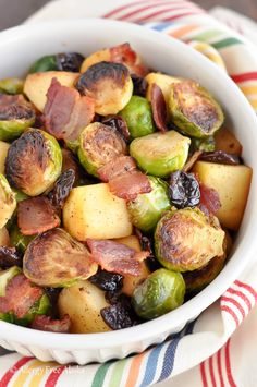 Pan Roasted Brussels Sprouts with Bacon and Apples Recipe- Easy Thanksgiving side dish! |Allergy Free Alaska