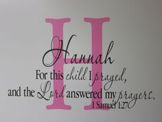 Monogram Personalized scripture bible wall art 1 Samuel 1 this child I prayed, Bible Verse, Wall Decal, Wall sticker, Wall Stickers, Wall Decals, Wall Art, Hannah Bible, 1 Samuel 1 27, Soft Pink Color, Baby Love, Baby Baby, Baby Gender