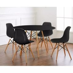 kit mesa eames redonda de 100cm com 4 cadeiras - 12x