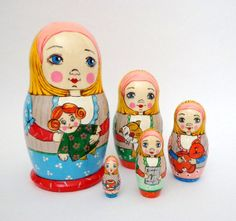 Wooden painted dolls matryoshka, russian nesting dolls
