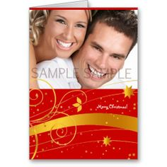Golden and red Merry Christmas personalised card