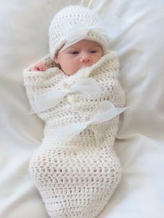 Beautiful crochet cocoon and hat pattern. Lovely, soft and sweet baby set. Perfect photo prop pattern. This easy pattern works up very quickly using worsted weight yarn.   ...