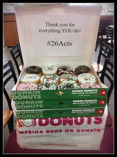 """""""Just dropped off 7 dozen Dunkin Donuts for the teachers at our elementary school."""""""