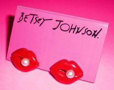 Betsey Johnson Earrings Sexy Lips Pearl Studs - Free Shipping
