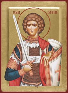 Dragana Djorđevic is an icon painter from Serbia. She paints in byzantine style using pigments made of semi-precious stones and natural minerals on linden wood and the background is covered with gold leaves. Linden Wood, Orthodox Christianity, Saint George, Disney Characters, Fictional Characters, Saints, Princess Zelda, Sf, Baseball Cards