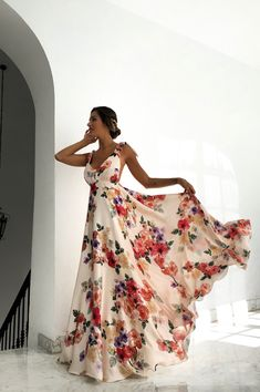 Shop Floral Print Tied Shoulder Backless Maxi Dress – Discover sexy women fashion at Boutiquefeel Floral Prom Dresses, Backless Maxi Dresses, Maxi Robes, Pretty Dresses, Beautiful Dresses, Summer Dresses, Formal Dresses, Floral Print Maxi Dress, Bodycon Dress