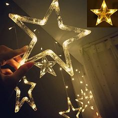 Twinkle Star 12 Stars 138 LED Curtain String Lights, Window Curtain Lights with 8 Flashing Modes Decoration for Christmas, Wedding, Party, Home Decorations (Warm White) Star String Lights, White String Lights, Indoor String Lights, Christmas String Lights, Plastic Curtains, String Curtains, Window Curtains, Diwali Lights, Star Wars