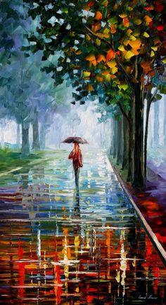 Twilight autumn in the rain