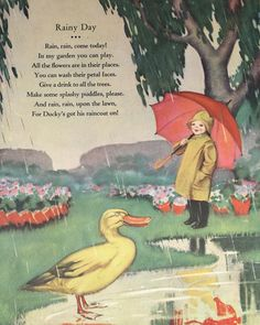 Vintage Illustration Children's Art / Rainy Day Nursery Rhyme / Nursery Art / Wall Art / Home Decor / Book Art Rainy Day Poem, Rainy Days, Nursery Rhymes Poems, Poetry For Kids, Kids Poems, Fun Poems, Pomes, Preschool Songs, Vintage Nursery
