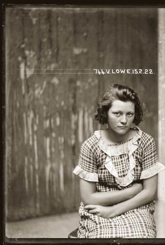"Mugshot: ""Valerie Lowe, 15 February 1922, Central Police Station, Sydney.""  ""Special Photograph no 744. Valerie Lowe and Joseph Messenger were arrested in 1921 for breaking into an army warehouse and stealing boots and overcoats to the value of 29 pounds 3 shillings."""