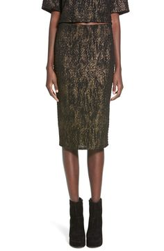 All eyes are on you in a glittery midi-length skirt cut from cool textured fabric in a flattering pencil silhouette. @nordstrom