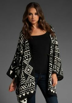 "***SO CHIC!***Aztec Pattern 100% Baby Alpaca***DOLCE VITA***""Tammy"" Sweater*Wrap"