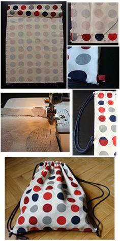 hojaldre de botones: DIY - TUTORIAL COMO HACER UNA MOCHILA DE TELA Drawstring Bag Tutorials, Drawstring Bags, Sewing Tutorials, Sewing Hacks, Sewing Projects, Sewing Patterns, Sewing Crafts, Backpack Tutorial, Learn To Sew