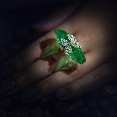 Instagram media by formsjewellery - Two Colombian briolettes emerald & shield-shaped diamond ring #formsjewellery