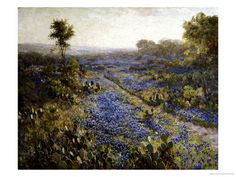 Field of Texas Bluebonnets and Prickly Pear Cacti - Julian Robert Onderdonk