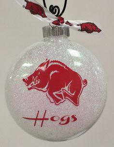 Arkansas Razorback Hogs Christmas Ornament by AdamsFloristandGifts, $9.95