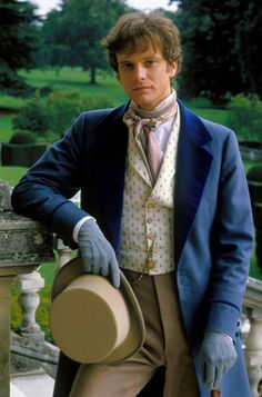 'Mr Darcy stepped out through them, head and shoulders among the throng. He was looking remarkably handsome in a royal blue tail coat—not a colour Lizzy had ever before seen him wear.' This pic - Colin Firth in Camille Colin Firth Mr Darcy, Bridget Jones, Regency Era, Kingsman, Le Far West, Mode Masculine, Period Dramas, Period Movies, Historical Romance