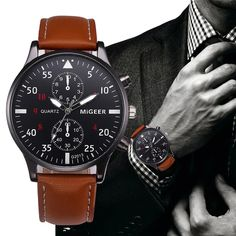 Buy Mens watches Retro Design Leather Band Analog Alloy Quartz Wrist Watch Reloj para hombres Herrur Mænds ur Montre pour homme Herrenuhr Relógio masculino at Wish - Shopping Made Fun Army Watches, Sport Watches, Wrist Watches, Silver Watches, Mens Watches Leather, Leather Men, Brown Leather, Classic Leather, Leather Case