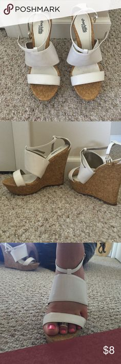 Charlotte Russe white summer wedges Charlotte Russe white summer wedges. Size 7 1/2z they have been worn before and might have a few minor scuffs Charlotte Russe Shoes Wedges