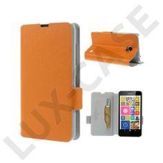 Bellman (Orange) Nokia Lumia 630 / 635 Äkta Läder Flip Fodral
